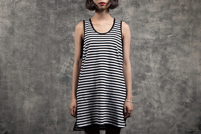 Stripe Rounded Long Sleeveless(Black/White) (3차재입고)